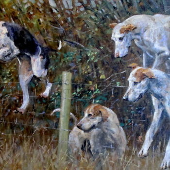 Malcolm Coward – Original – Foxhounds – 'Over the Fence'