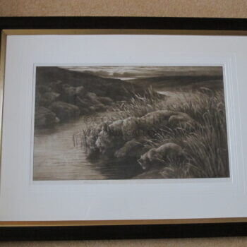 'PEACE' Signed artist's proof etching on vellum by Herbert Dicksee