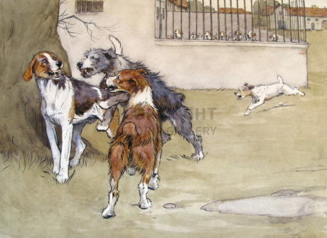 Original Cecil Aldin Painting  'Foxhound and Terrier'