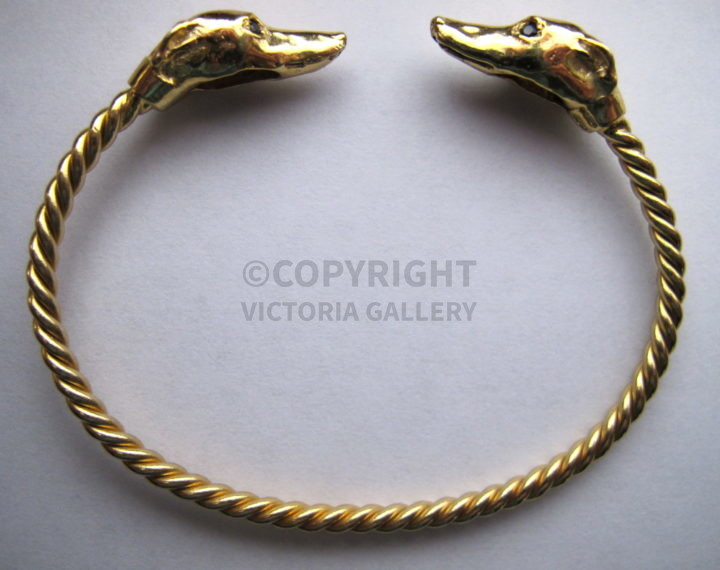 New Gold Greyhound Bangle with Sapphire Eyes by HArriet Glen