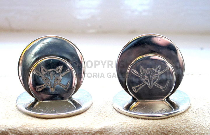 Sampson Mordan & Co. Chester Pair Silver Fox Mask, h whip & Horn Menu Holders. Chester 1904