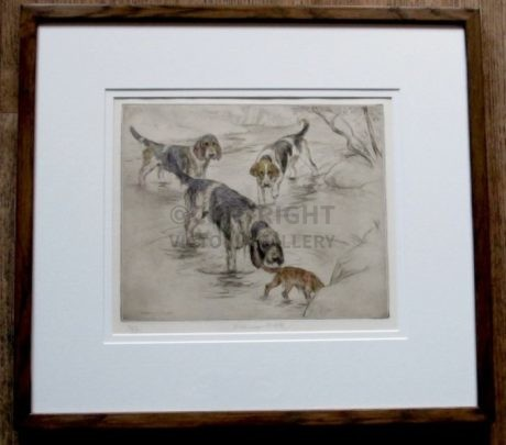Otterhounds etching by G Vernon Stokes