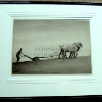 'PLOUGHING' Etching by Cecil Aldin