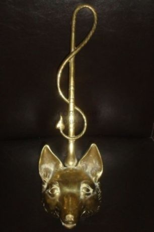 Brass Fox Mask & Whip Door Stop