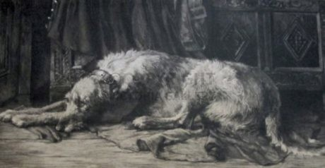 Herbert Dicksee Deerhound etching – 'Oh for the Touch of a Vanished Hand'