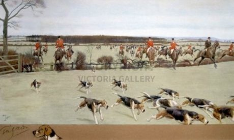 RARE – Large Hunting Print – The Cheshire – Away from Bath Wood – Pastel fox remarque /40.