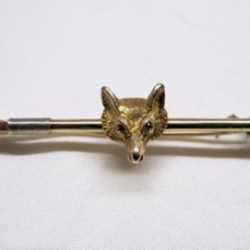 14ct Gold Fox Mask on Hunting Whip with Ruby Eyes