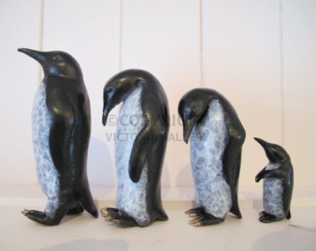 Steve Boss – Solid Bronze Emperor Penguin Family 'Waddle'  (2)