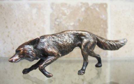 NEW – Bronze Stalking Fox with Patination (1)