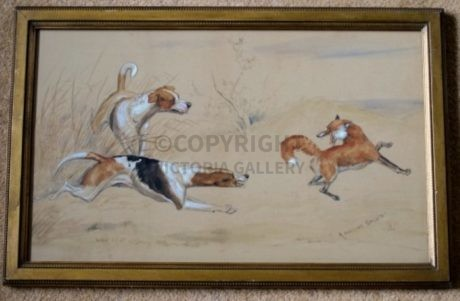 "Original Antique Watercolour ""A Parting Salute' depicting a Fox and Hound Couple"