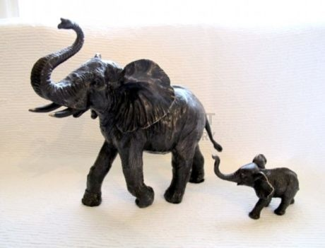 African Elephant & Calf in Bronze by Steve Langford