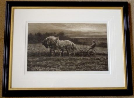 'The Clover Field' SAP etching by Herbert Dicksee