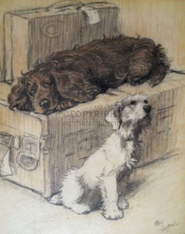 Cecil Aldin Original Painting of a 'Cocker Spaniel & Terrier' – 'Woggles'