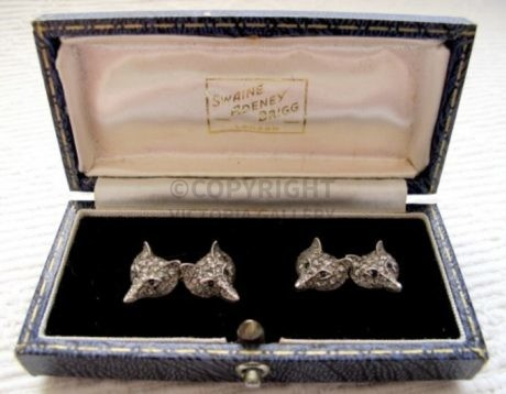 Victorian Diamond, Platinum & Gold Fox Mask Cufflinks with Sapphire Eyes