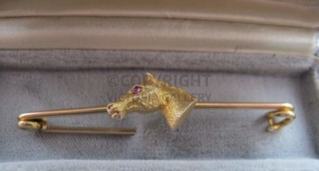 Beautiful 9ct & 15ct or 18ct Horse Head Stock Pin