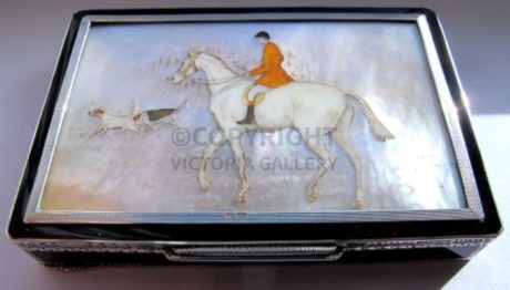 Silver, Enamel, Gilt & Mother of Pearl Hunting Cigarette Case depicting A Huntsman and a Pair of Hounds