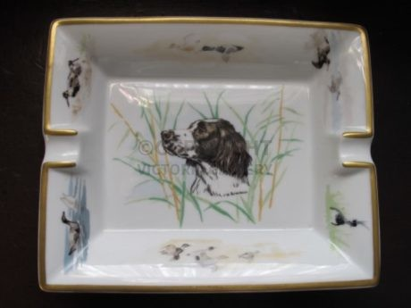 Hermes Porcelain Ashtray – Signed Springer Spaniel – Mint