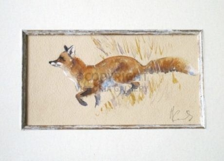 Malcolm Coward Original Watercolour of a Fox 'Trotting Along'