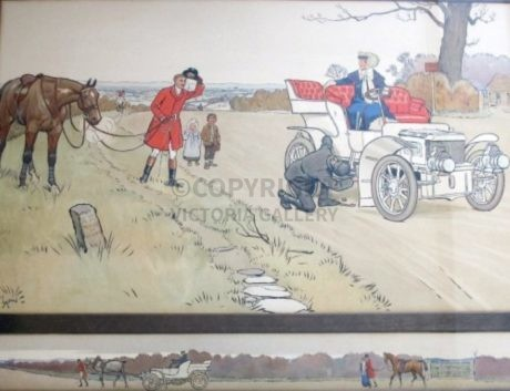 Rare Pair 'The Check' & 'Gone Away' by Cecil Aldin (1)