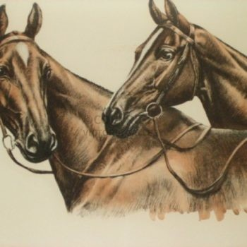 'PAIR OF HORSES' by Leon Danchin