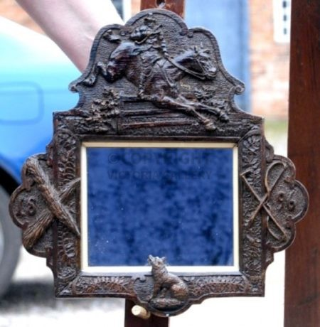Victorian Hand Carved Oak Mirror with Fox Hunting Relief – Dated 1896