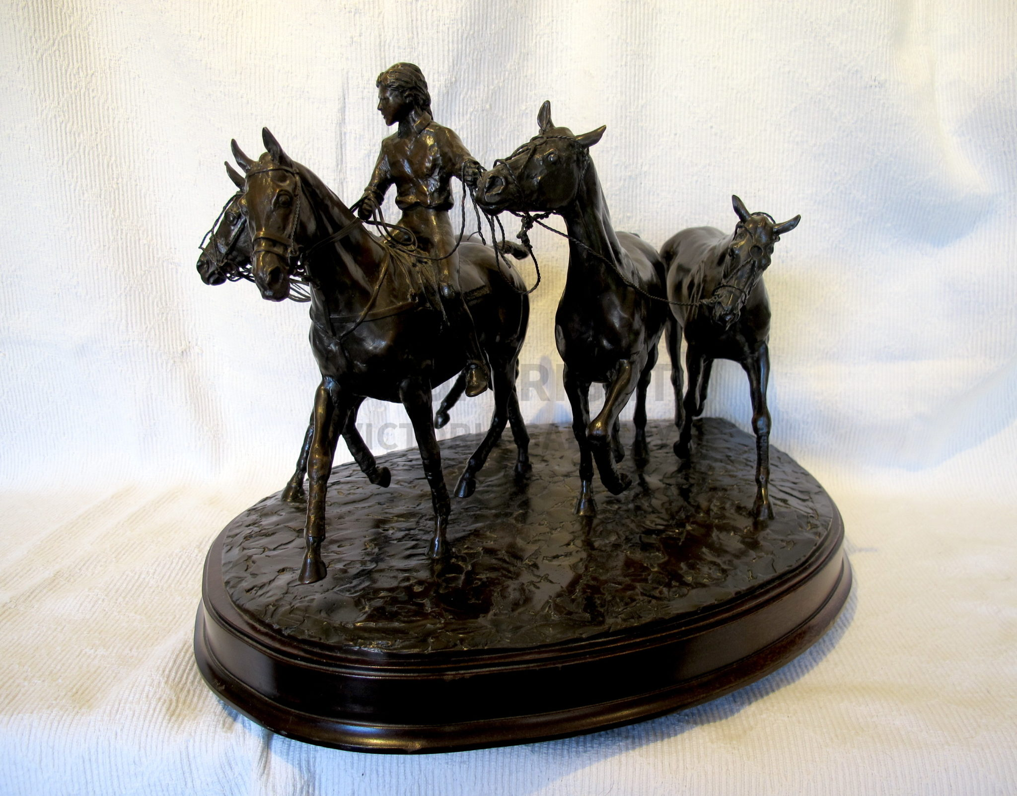 Bronze Sculpture 'Bringing on the Ponies' by Priscilla Hann (Polo)