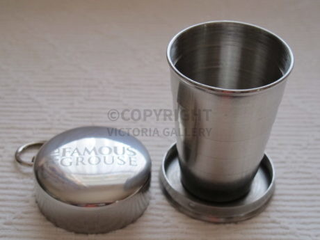 Famous Grouse Whisky Collapsible Metal Cup With Cover & Keyring