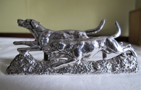 Rare George V Silver. TWO pairs JD&S. Running Foxhounds Menu Holders