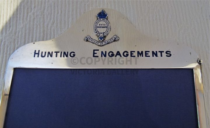 Silver Princess of Wales's XVIII Hussars Hunting Engagements Frame 1903.