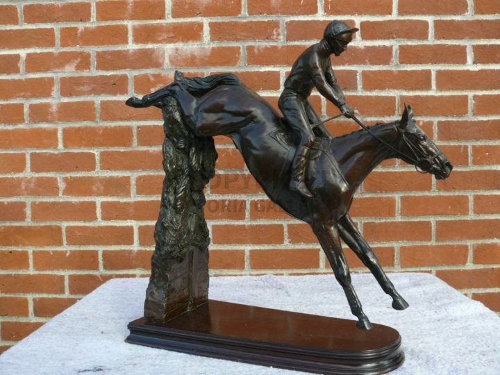 Priscilla Hann Bronze Sculpture ' West Tip' over Becher's Brook