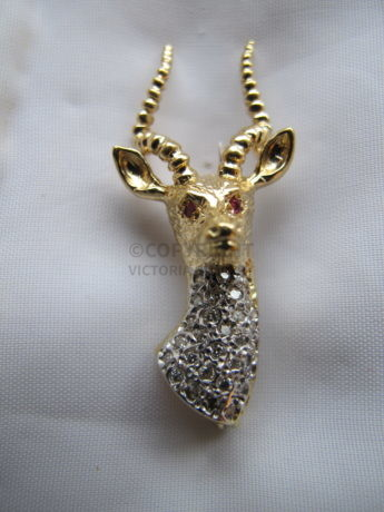 Diamond & Gold Stag Brooch