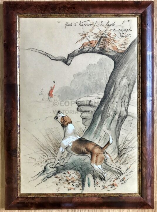 Basil Nightingale. Original watercolour & gouache. Titled, signed and dated. Hound, fox and huntsman. 1920.