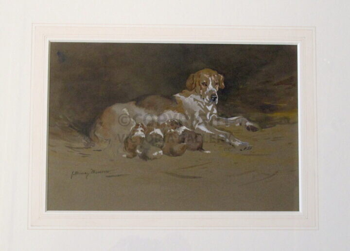 John Murray Thomson RSW. 1885-1974. Foxhound & Pups. 1918. Signed watercolour