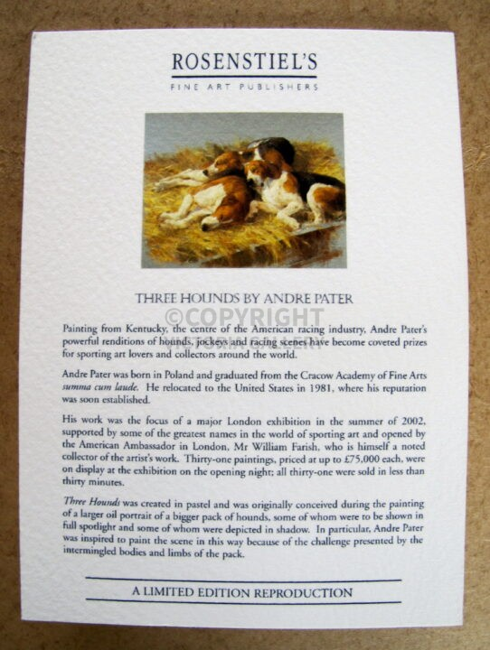 Andre Pater. Rare. 'Three Hounds.' Signed ltd ed. '395. Inc. cert of auth. Out of edition