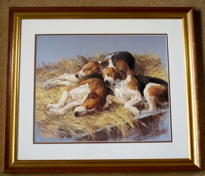 Andre Pater. Rare. 'Three Hounds.' Signed ltd ed. '395. Inc. certificate of authenticity. Out of edition